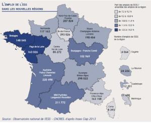 Emploi de l'ESS dans nouvelles regions