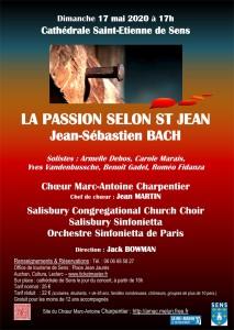 SENS 17 Mai Concert BACH Passion selon St Jean